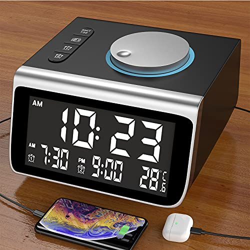 Dekala Alarm Clock for Bedroom Kids Alarm Clock Radio Clock Digital Alarm Clock with USB Charger Desk Bedside Clock radios 2 USB Charging Ports Battery Backup Small Clock for Kids