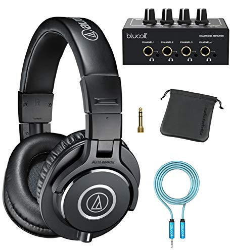 Audio-Technica ATH-M40x Professional Studio Monitor Headphones for DJ Monitoring, Studio Tracking and Mixing (Black) Bundle with Blucoil 4-Channel Headphone Amplifier, and 6' 3.5mm Extension Cable