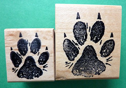 Dog Paw Print Rubber Stamp Set of (2), medium and large