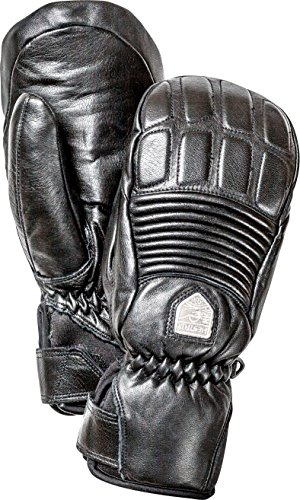 Hestra Womens Ski Gloves: Fall Line Leather Cold Weather Winter Mitten, Black, 8