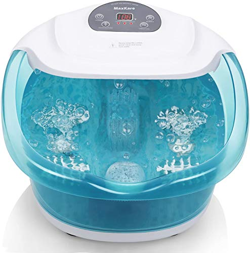 Foot Spa/Bath Massager with Heat Bubbles Vibration 3 in 1 Function, 4 Massaging Rollers Pedicure for Tired Feet Stress Relief Help Sleep Home Use