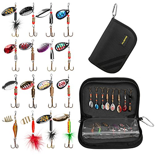 PLUSINNO 16pcs Fishing Lure Spinnerbait Kit with Portable Carry Bag,Bass Trout Salmon Hard Metal Spinner BaitsKit