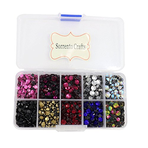 5000pcs/box,500pcs/color Mixed 10 Colors Mixed Sizes Glass Rhinestones Flatback Hot Fix Stones