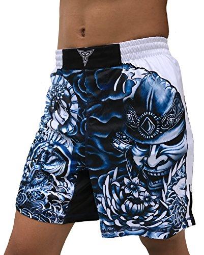 The Ronin - Masterless Samurai- MMA BJJ Wrestling Fight Shorts - White (Youth XL: Waist 26')
