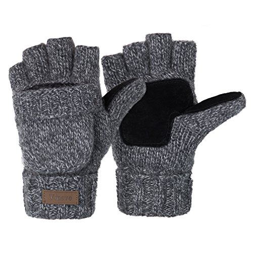 Winter Knitted Convertible Fingerless Gloves Wool Mittens Warm Mitten Glove for Women and Men