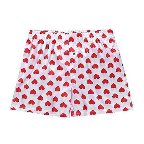 ACSUSS Men's Frilly Satin Boxers Shorts Silk Summer Lounge Halloween Underwear Heart Print White Medium