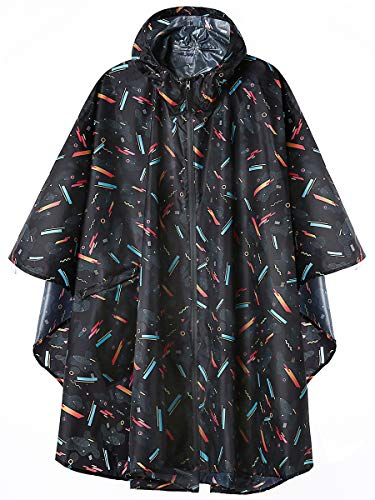 Unisex Stylish Rain Poncho Zipper Up Raincoats with Pockets for Women/Men Geometric