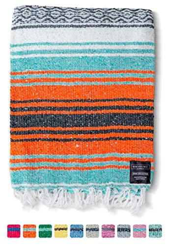 Mexican Blanket, Falsa Blanket   Authentic Hand Woven Blanket, Serape, Yoga Blanket   Perfect Beach Blanket, Navajo Blanket, Camping Blanket, Picnic Blanket, Saddle Blanket, Car Blanket (Mandarin)