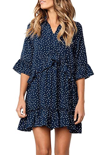 MITILLY Women's V Neck Ruffle Polka Dot Pocket Loose Swing Casual Short T-Shirt Dress Large Dark Blue