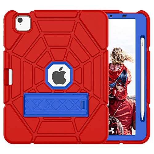 Grifobes New iPad Air 4th Generation 2020 Case, iPad 10.9 Case 2020 for Kids, Heavy Duty Shockproof Rugged Case with Built-in Apple Pencil Holder Cover for iPad Air 10.9' 4th Gen (RED+Blue+Blue)