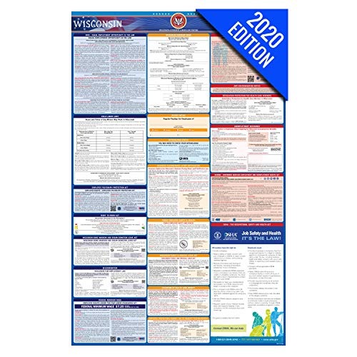 WI Labor Law Poster, 2020 Edition - State, Federal and OSHA Compliant Laminated Poster (Wisconsin, English)