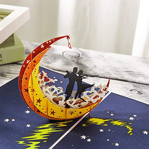 Gavenia 3D Card/Pop Up Card - Lovers Dance on the Moon - Perfect Handmade Gifts For Her, Him, Couple, Wife, Husband, Girlfriend, Boyfriend for Wedding Party,Love Anniversaries and Valentines Day Father's Day