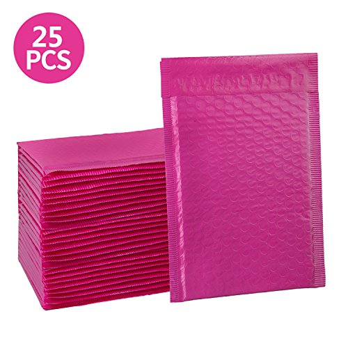 HBlife 6x10 Inches Poly Bubble Mailers Self Seal Hot Pink Padded Envelopes, Pack of 25