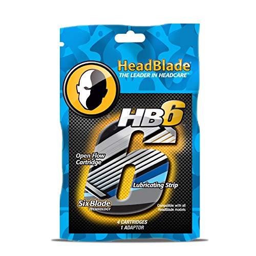 HeadBlade Men's HB6 Refill Shaving Razor Blades (4 Blades)
