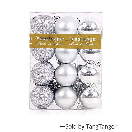 TangTanger Christmas Ball Assorted Pendant Shatterproof Ball Ornament Set Seasonal Holiday Wedding Party Decorations(24 pcs, 3 cm) (Silver)