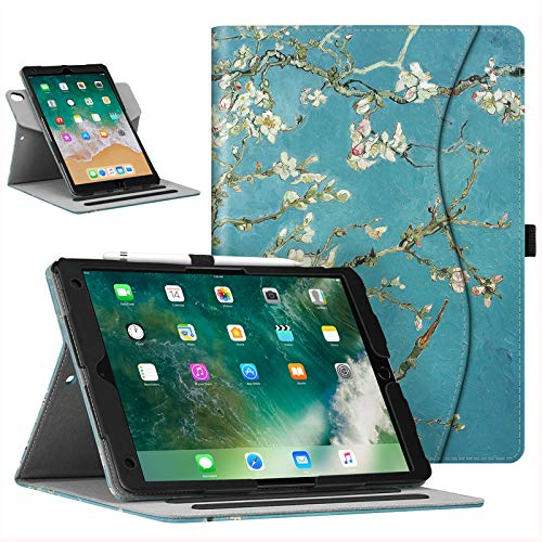 Fintie Case for iPad Air (3rd Gen) 10.5' 2019 / iPad Pro 10.5' 2017 - [Corner Protection] 360 Degree Rotating Smart Protective Stand Cover with Pocket, Pencil Holder, Auto Sleep/Wake, Blossom