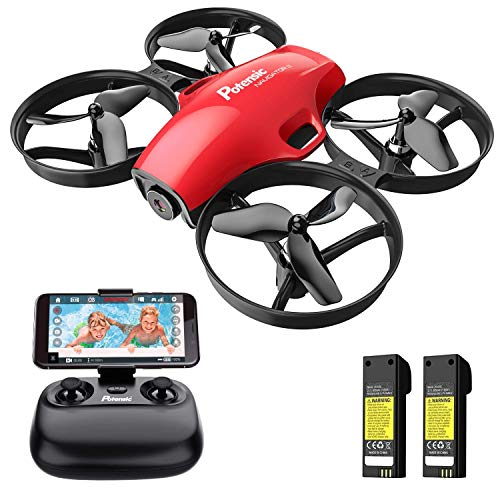 Drone with Camera for Kids, Potensic A30W RC Mini Quadcopter with 720P HD Camera, One Button Take Off/Landing, Route Setting, Gravity Induction and Emergency Stop-Dual Battery(Red)