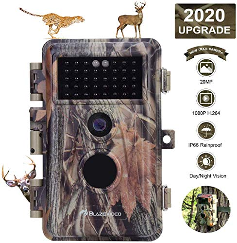 Game Trail Deer Camera with Night Vision 20MP HD 1920x1080P H.264 MP4 Video Hunters Wildlife Hunting Cam No Glow IR Motion Sensor Activated IP66 Waterproof & Password Protected Photo & Video Model