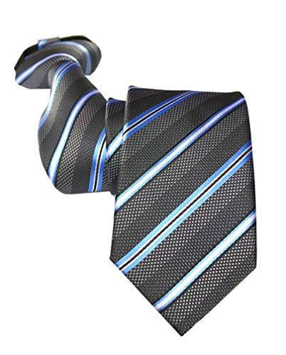 Men's Elegant Dark Grey Striped 100% Silk Skinny Ties Zip Textured Woven Formal Wedding Neckties
