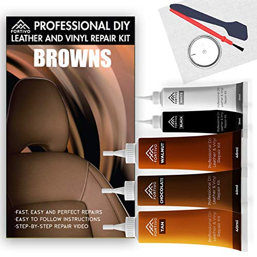 Leather Repair Kits for Couches Brown - Vinyl Repair Kit, Leather Repair Kit, Furniture Repair Kit - Leather Scratch Repair for Refurbishing for Upholstery, Couch, Boat, Car Seats - Leather Dye Brown