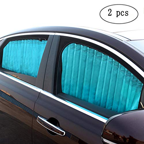 ZATOOTO Car Side Window Sun Shade - Blue (2 Pcs) Magnetic Baby Sunshades Car Window Curtain Keeps Cooler Privacy Screen for Sleeping