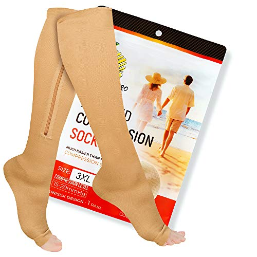 Zippered Medical Compression Socks 20-30mmHg with Zipper Safe Protection & Open Toe Support Stockings for Men and Women (Large, Beige)