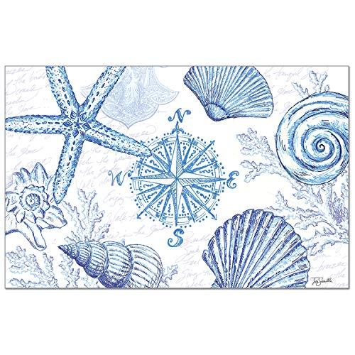 Counterart Coastal Sketch Premium Paper Placemat Set 24 Sheets