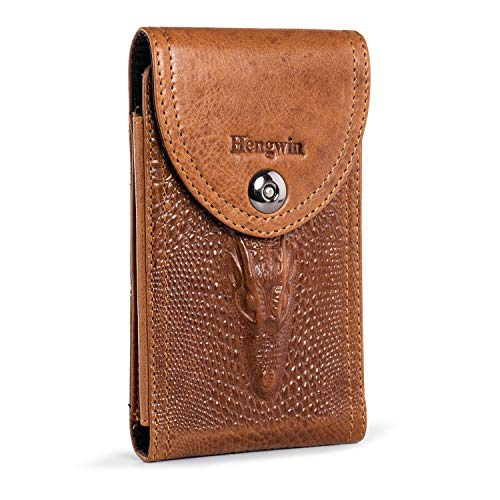 Hengwin Genuine Leather Smartphone Holster for iPhone 8 Plus 7 Plus 6s Plus Samsung Galaxy Note 8 9 10 S20+ S10+ S8 Plus S9 Plus Pouch Belt Clip Case Holder with Magnetic Closure Men Purse (Brown)