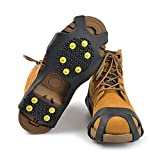StyleZ 10-Stud Spikes Anti Slip Snow Ice Grips Over Shoe Traction Cleats Rubber Crampons Slip-on Stretch Footwear (L)