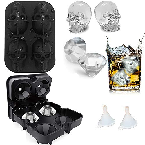 Ice Cube Trays Diamond Ice Cube Molds ,3D Skull Ice Cub Reusable Silicone Flexible 4 Cavity Ice Maker for Chilling Whiskey Cocktails, Funnel Included, Easy Release,2pcs