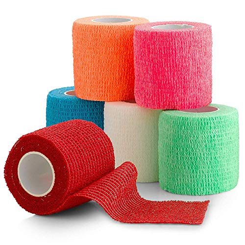 """6 Pack, Self Adherent Cohesive Tape - 2"""" x 5 Yards, Self Adhesive Bandage Rolls & Sports Athletic Wrap for Ankle, Wrist, Knee Sprains and Swelling, Vet Wraps in Assorted Neon Colors"""