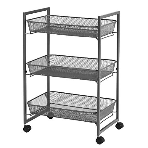 SONGMICS Rolling Cart, 3-Tier Serving Trolley with Wire Baskets, Space Saving, Easy Assembly, for Kitchen, Office, Bathroom, Living Room, Gray UBSC061G01