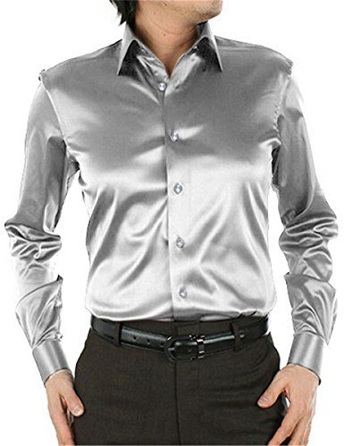 Men's Shirt, Button Down Long Sleeve Silk Like Satin Luxury Solid Dance Prom Party Dress Shirts for Men, Silver, Tag Size 185 = US Large/42