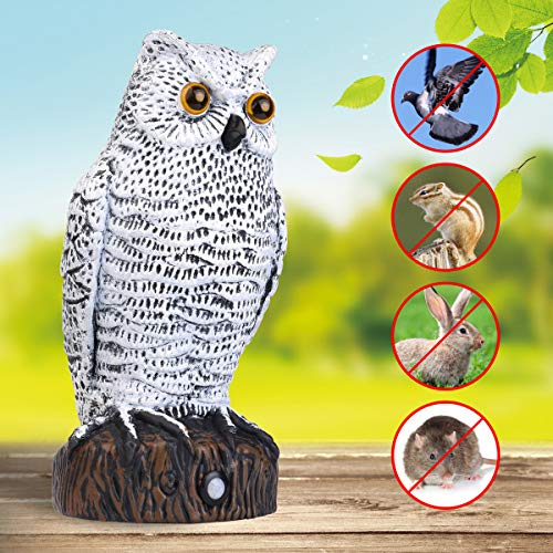 Lubatis Owl Decoy Scarecrow Bird Repellent with Flashing Eyes and Frighting Sounds Motion Activated Deters Birds, Mice, Squirrels, Rabbits