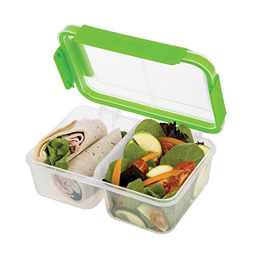SnapLock by Progressive Deep Split Container - Green, Easy-To-Open, Leak-Proof Silicone Seal, Snap-Off Lid, Stackable, BPA FREE