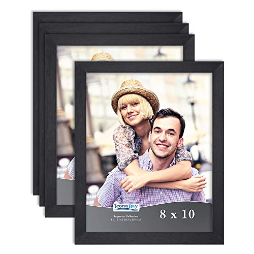 Icona Bay 8x10 Picture Frame Set (Black, 4 Pack) Simple Modern Design, Table Top Kickstand and Wall Hanging Hooks Included, Impresia Collection