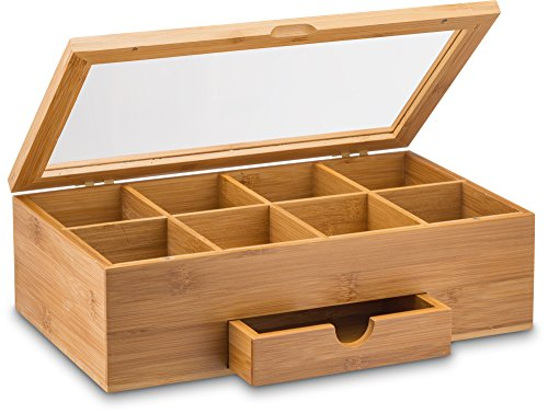 Premium Bamboo Tea Box Organizer - Wood Tea Chest with Slide-Out Drawer & Acrylic Window, Magnet Lid Keeps Teabag Fresh - Countertop & Cabinet Storage Organization (Teabags Not Included)