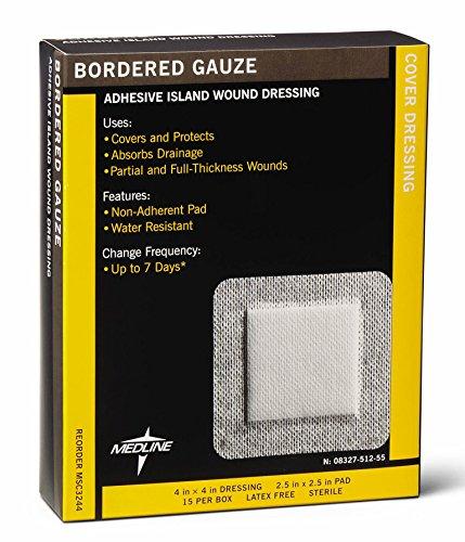 Medline-MSC3244 Sterile Bordered Gauze, 4' x 4' (Pack of 15)