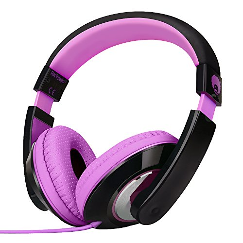 Rockpapa On Ear Stereo Headphones Earphones for Adults Kids Childs Teens, Adjustable, Heavy Deep Bass for MP3/4 DVD Smartphones Laptop Tablet in Car/Airplane Black/Purple
