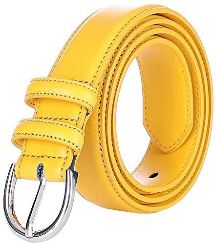 Falari Women Genuine Leather Belt Fashion Dress Belt With Single Prong Buckle 6028-Yellow-XL