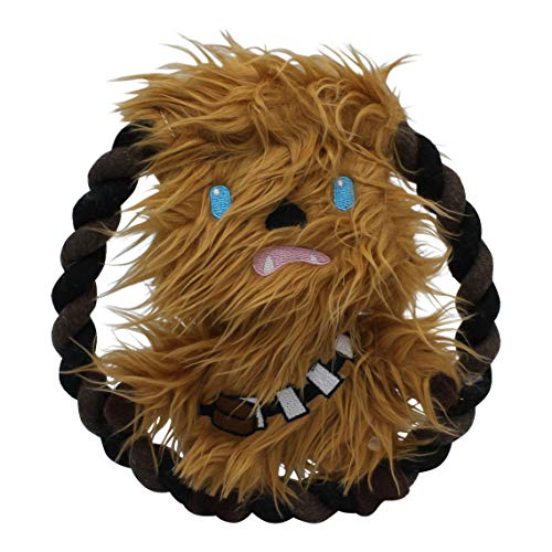 Star Wars Plush Chewbacca Rope Frisbee Dog Toy | Soft Star Wars Squeaky Dog Toy