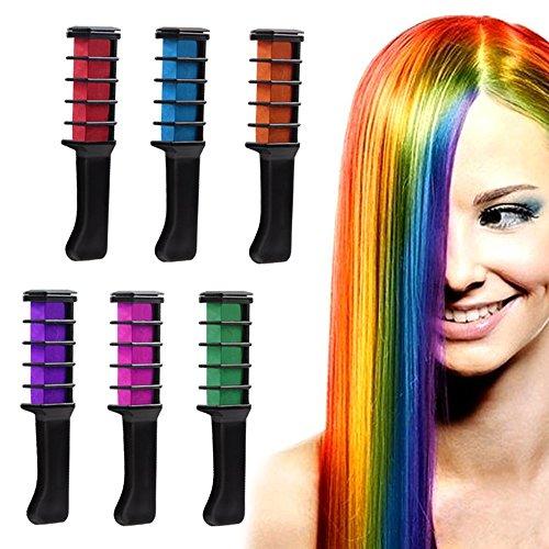 IVYRISE 6PCS Bright Color Hair Chalk Comb Temporary Color Non-Toxic Hair Coloring Chalk DIY Dye Set