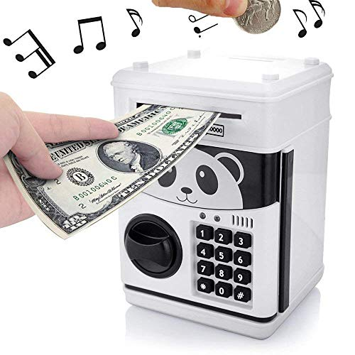 Musical ATM Savings Piggy Money Bank Machine with Code Lock for Kids,Mini Electronic Panada Coin Box with Voice Prompt and Password Login