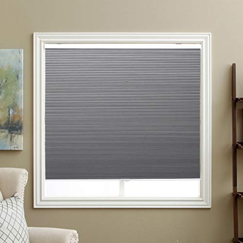 SBARTAR Cellular Shades Cordless Blackout Honeycomb Blinds Fabric Window Shades 23' W x 64' H, Cool Silver(Blackout)
