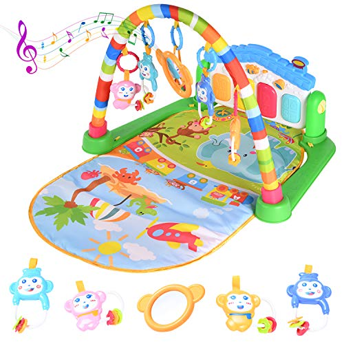 Baby Play Mat Activity Gym with Kick Piano Keyboard, Baby Jungle Gym Mat Designed with Colorful and Detachable Baby Toys in Activity Center for Tummy Time Boys and Girls Aged 0 to 12Months(Blue)