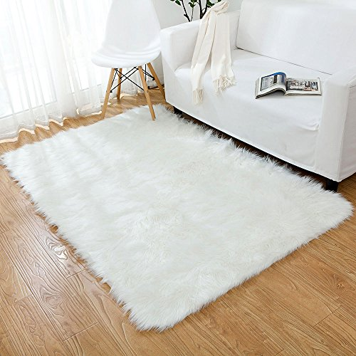 OJIA Deluxe Soft Fuzzy Fur Rugs Faux Sheepskin Shaggy Area Rugs Fluffy Modern Kids Carpet for Living Room Bedroom Sofa Bedside Decor (4 x 6ft, Ivory White)