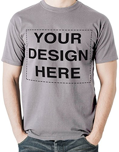 Custom Tshirts Design Your Own Text or Image Adult Unisex T-Shirt (X-Large, Light Grey)