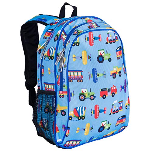 Wildkin Kids 15 Inch Backpack for Boys and Girls, Perfect Size for Preschool, Kindergarten and Elementary School, 600-Denier Polyester Fabric Backpacks, BPA-free, Olive Kids(Trains, Planes and Trucks)