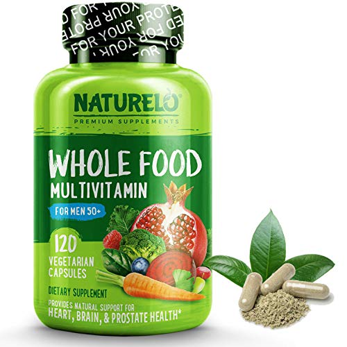 NATURELO Whole Food Multivitamin for Men 50+ - with Vitamins, Minerals, Organic Herbal Extracts - Vegan Vegetarian - for Energy, Brain, Heart and Eye Health - 120 Capsules