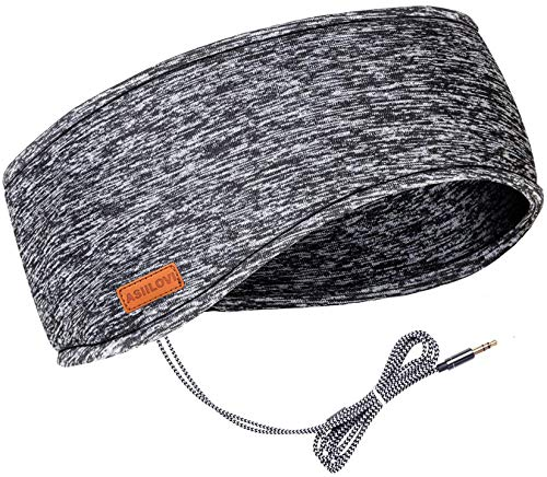ASIILOVI Sleep Headphones & Ear Warmers Headband Headphones & Ear Muffs Ear Covers with Ultra-Thin HD Stereo Speakers for Outdoor Sports Running Nap Sleeping ASMR & Daily Wear (Wired-Gray)